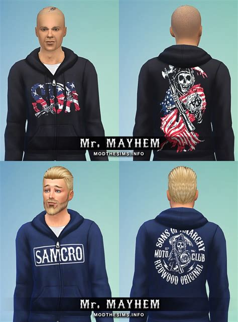 Hoodie Zipper Anarchy Zemba Clothing sims 4 sons of anarchy hoodie zipper set