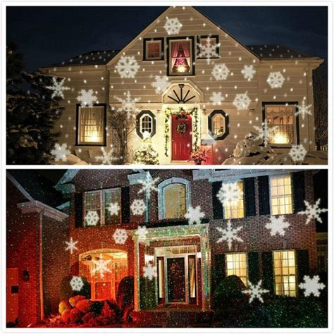 xmas lights white snow sparkling landscape projector