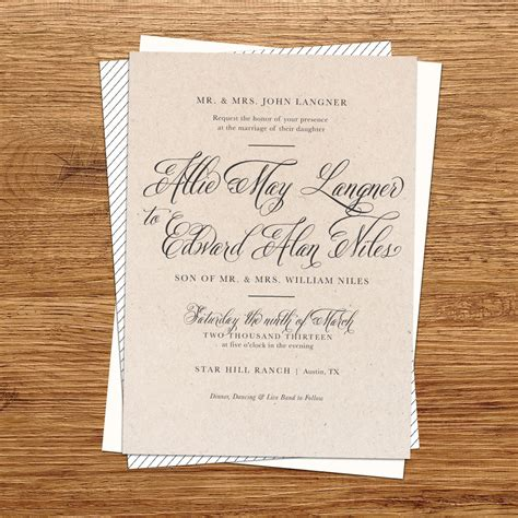 Wedding Invitation Paper by Rustic Wedding Invitation Kraft Paper Wedding By Kxodesign