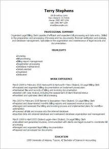 Billing Administrator Sle Resume by Professional Billing Clerk Resume Templates To Showcase Your Talent Myperfectresume