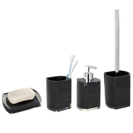 Black Bathroom Accessory Set Wenko Lido Bathroom Accessories Set Black At Plumbing Uk