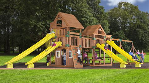 backyard swing sets wooden swingsets playsets and swingset plans kits for your backyard at everyda