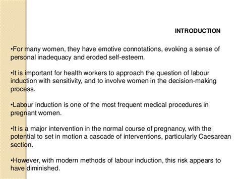 self induction of labor self induction of labor 28 images induction and augmentation of labour postterm pregnancy