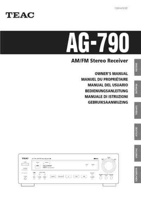 TEAC AG 790 Receiver download manual for free now - 37296