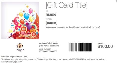 Chinook Gift Card - gift certificates chinook yoga prince george v2l 5n2