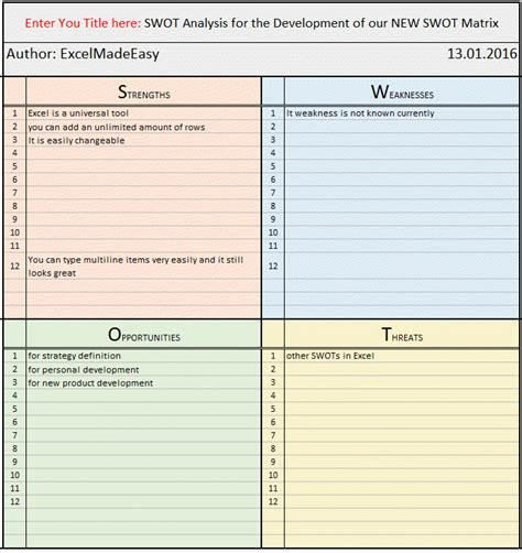 swot template xls swot matrix template for excel by excel made easy