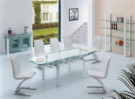 Modern Glass Dining Room Tables by Extendable Frosted Glass Top Designer Modern Dining Room