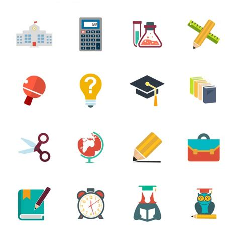 Imagenes Logos Escolares | set de iconos escolares descargar vectores gratis