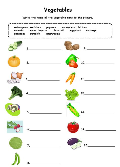 worksheets for preschoolers on fruits and vegetables vegetables worksheet