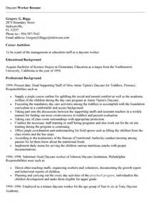 Sle Resume Of A Nanny by Daycare Worker Resume Objective