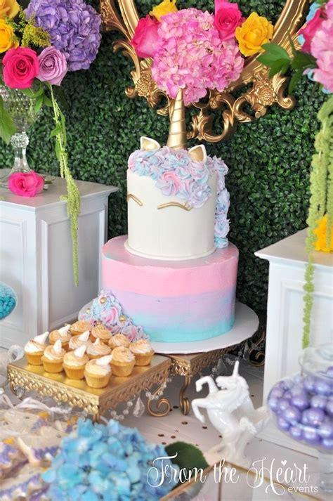 unicorn themed birthday party ideas unicorn cakescape from a vibrant unicorn birthday party on