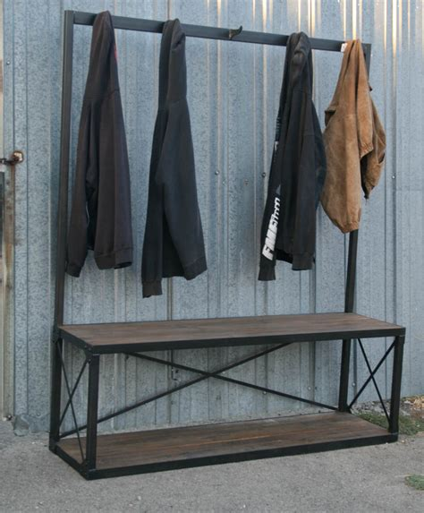bench with coat rack combine 9 industrial furniture industrial coat rack