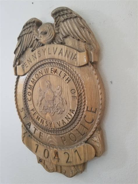 Painting V Carved Signs by 3d V Carved Pennsylvania State Trooper Badge Wood