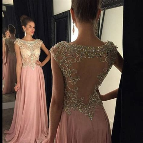 La Perle Gorgeous gorgeous prom dress pink a line scoop with beaded