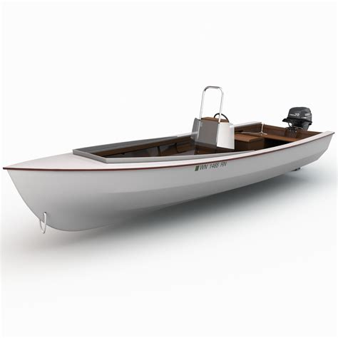 3d boat skiff motor boat 3d model