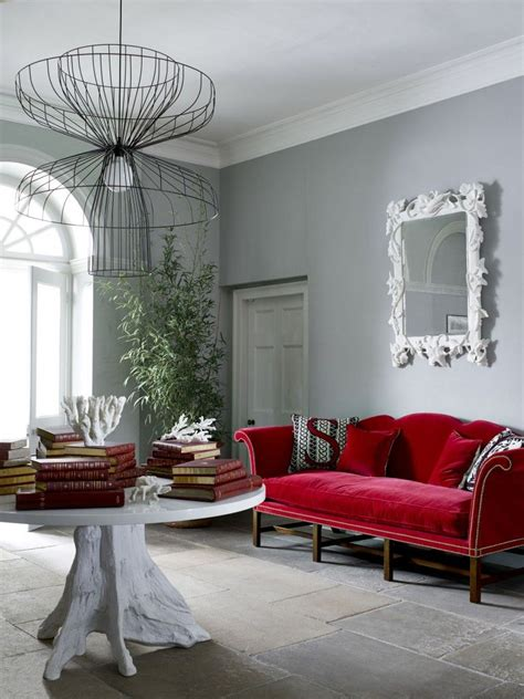 red sofas design  modern style living room combined