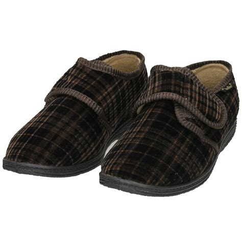 house slippers dr keller mens velcro fastening cosy slippers house shoes soft lining dr keller from