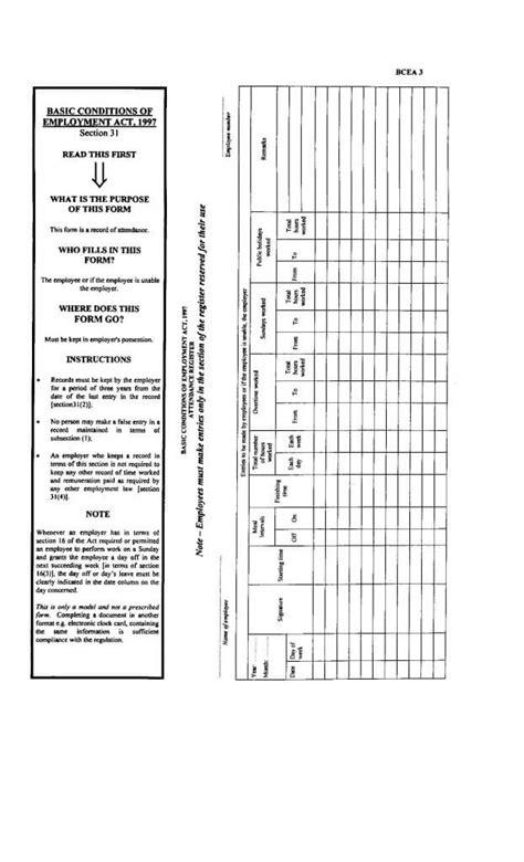 attendance register template formfactory