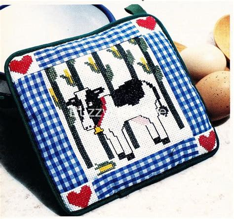 pattern holder cross stitch cross stitch pattern corny cow potholder pot holder