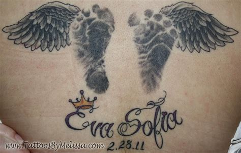 baby angel tattoo with stars baby wings and foot prints tattoos realistic baby