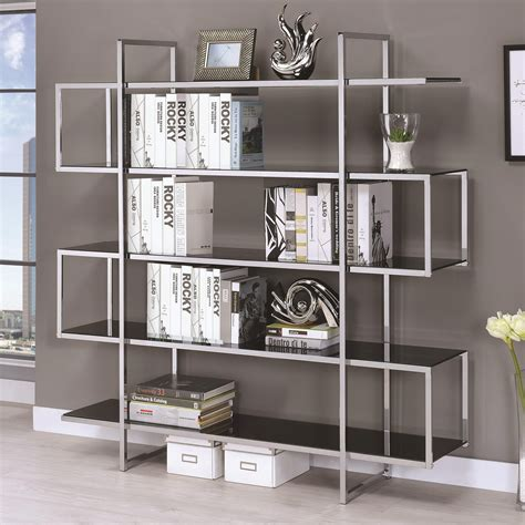 chrome and glass bookcase chrome black tempered glass bookcase las vegas furniture
