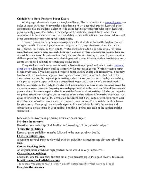 How To Write Research Essay by Guidelines To Write Research Paper Essays