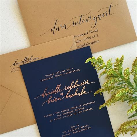 wedding invitations navy and gold gold foil with navy paper and kraft envelopes