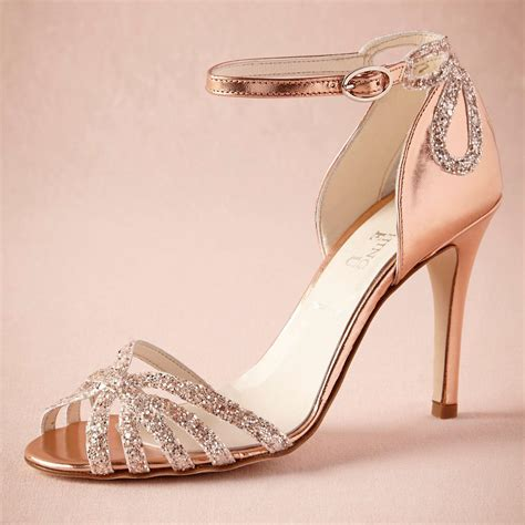 Gold Bridal Heels by Gold Glittered Heel Real Wedding Shoes Pumps Sandals