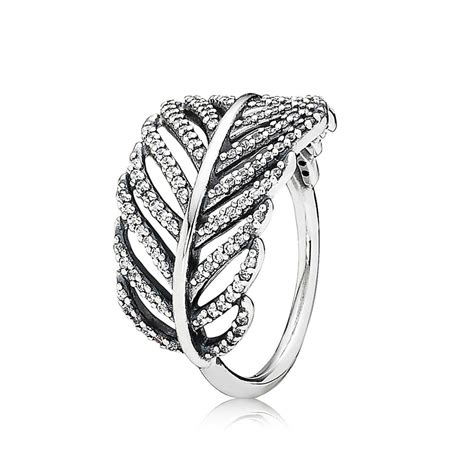 pandora light as a feather ring pandora silver pav 169 feather ring 190886cz greed