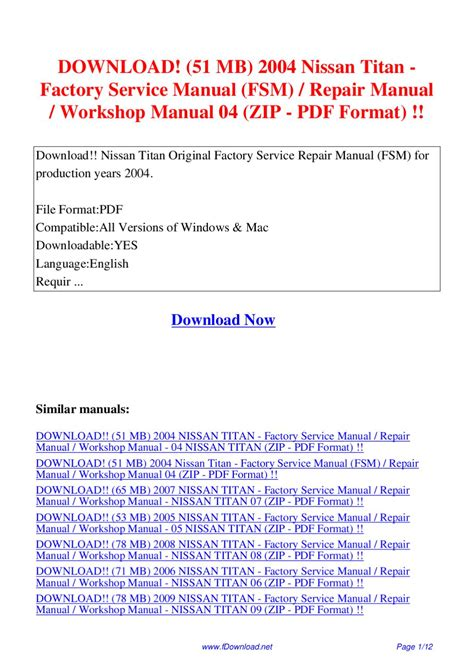 51 Mb 2004 Nissan Titan Factory Service Manual Fsm Repair