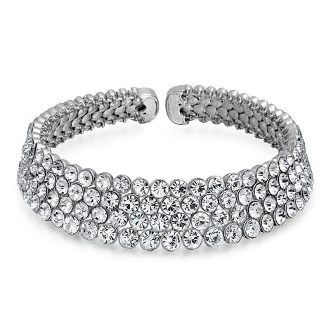 four row rhodium plated bridal dressy choker necklace