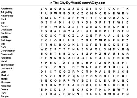 Search For In A City In The City Word Search A Day
