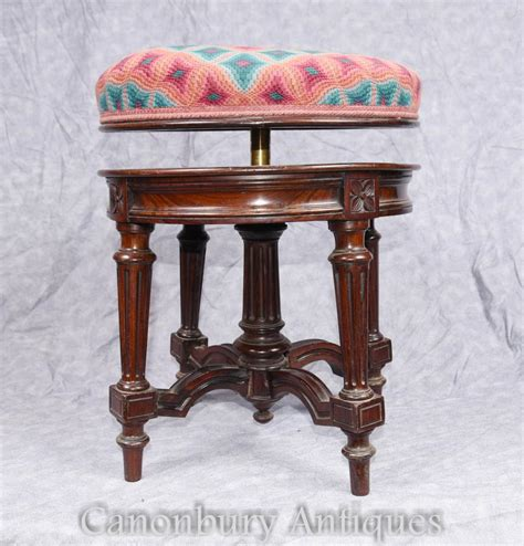 Antique Rosewood Piano Stool by Antique Piano Stool Ajustable Height Rosewood