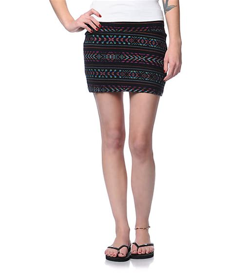 tribal patterned mini skirt billabong show me black tribal print mini skirt zumiez