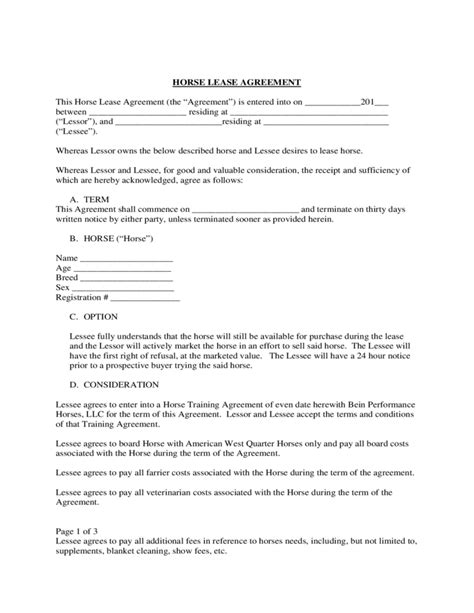 agistment agreement template 100 sle lease agreement template 5 free