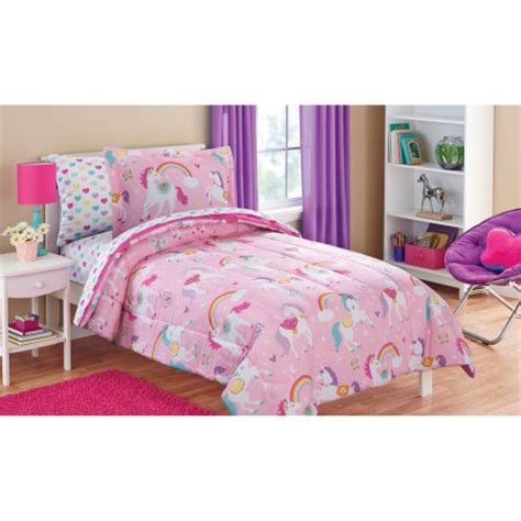 unicorn bedding twin mainstays kids rainbow unicorn bed in a bag complete