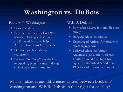 booker t washington vs web dubois venn diagram segregation and discrimination
