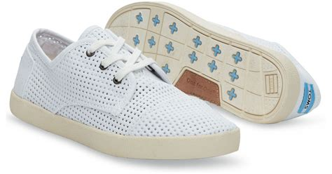 toms white canvas perforated s paseos in white lyst