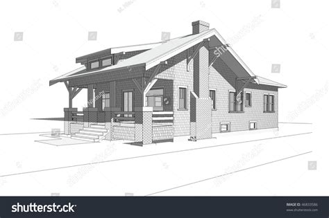 bungalow house sketch design architectural perspective drawing old craftsman style stock illustration 46833586 shutterstock