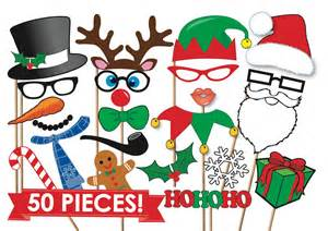christmas photobooth props party set 50 piece printable