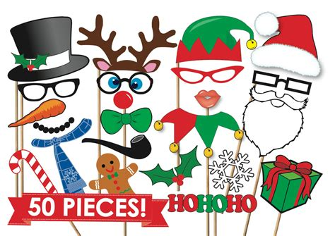 printable xmas photo props christmas photobooth props party set 50 piece printable