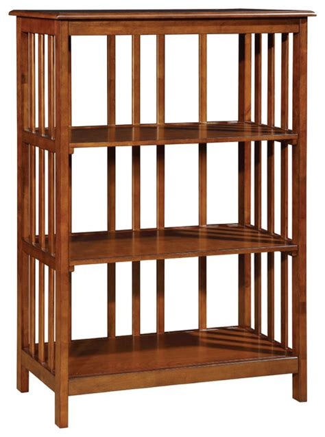 mission style bookcase oak finish 3 tier wood book shelf