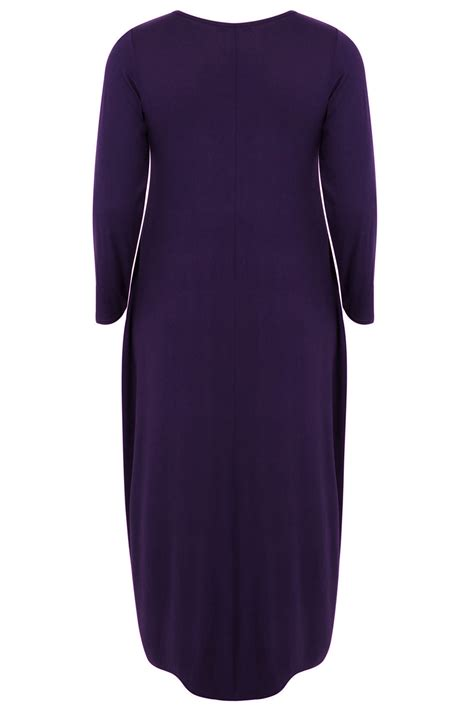 F153 78 Size 31 36 purple maxi dress with sleeves drop pockets plus size 16 to 32
