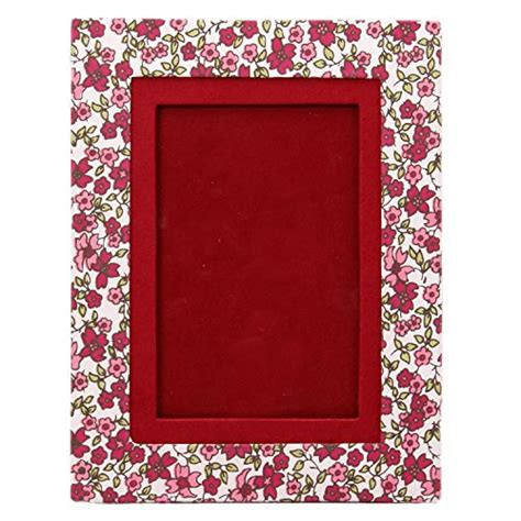 Handcrafted Photo Frames - snnappo white maroon floral designer print handmade paper