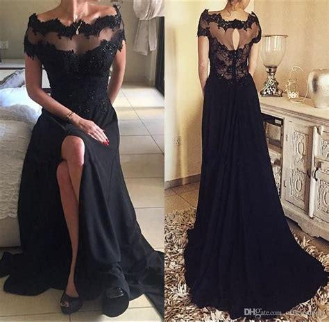 gothic black vintage lace prom party dresses