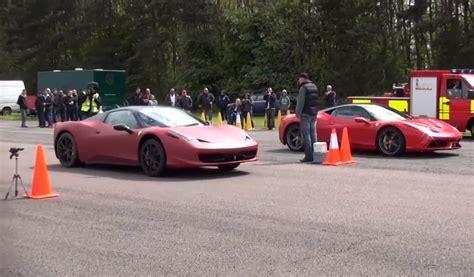 ferrari 458 vs how not to race a ferrari 458 speciale against a 458
