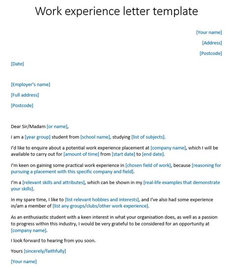 work experience letter template reedcouk