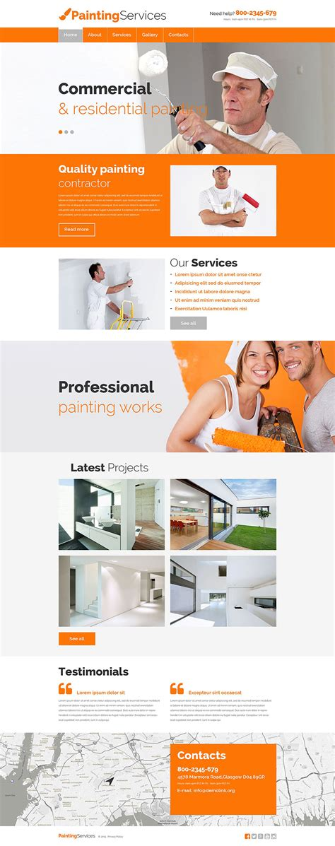 Painting Company Responsive Website Template 55471 Painting Company Website Templates Free