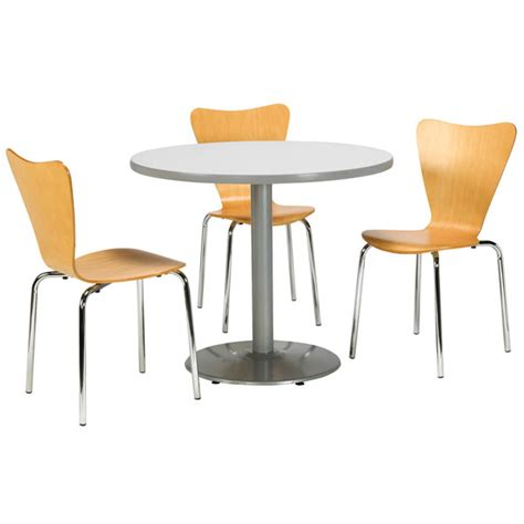 breakroom tables and chairs kfi seating silver base cafe table with four 3888 stack