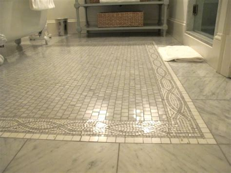 Marble Tile Bathroom Floor Mosaic Tile Floor Transitional Bathroom Graciela Rutkowski Interiors